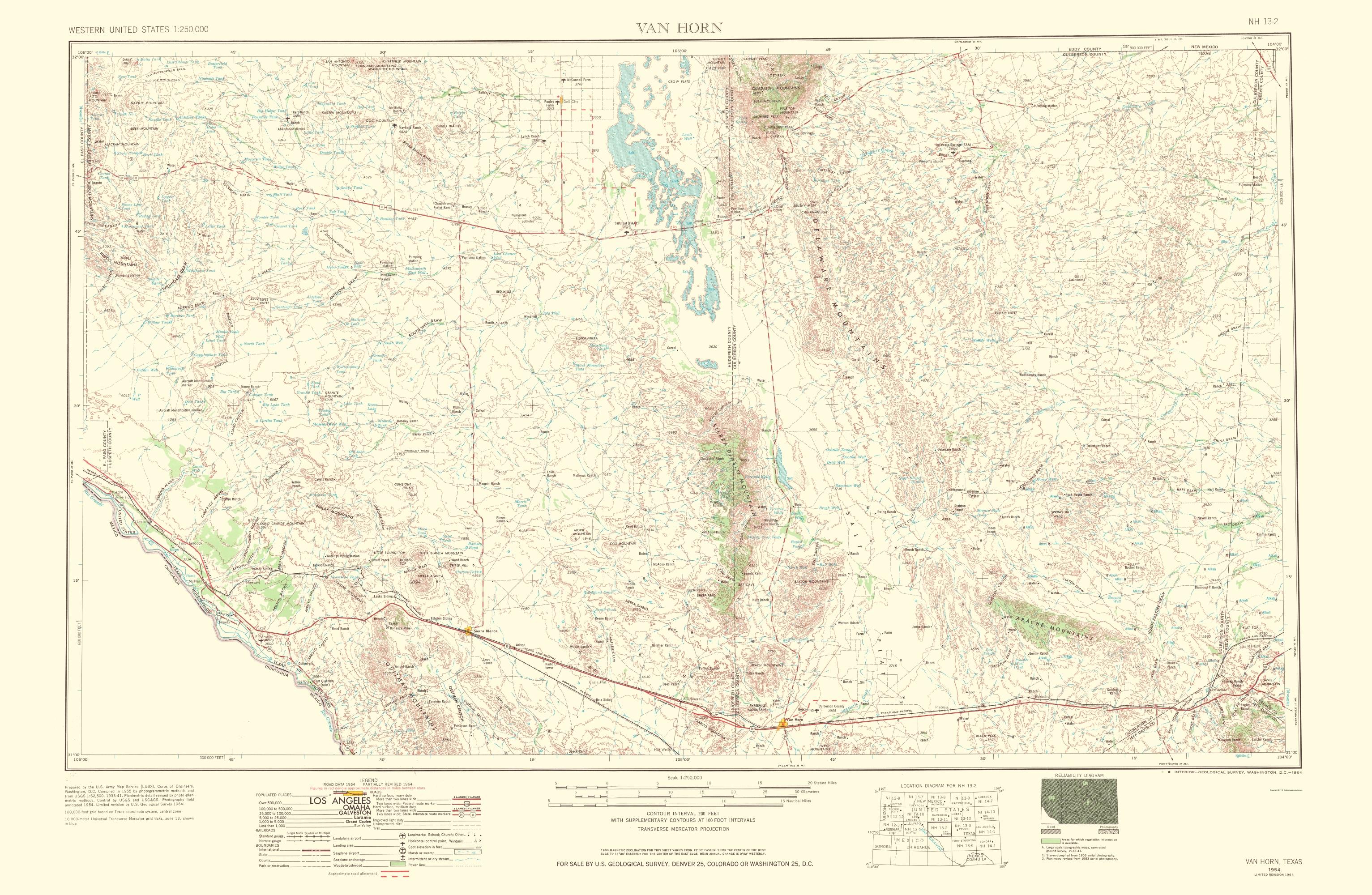 Old Topographical Map - Van Horn Texas 1954 - Van Horn Texas Map