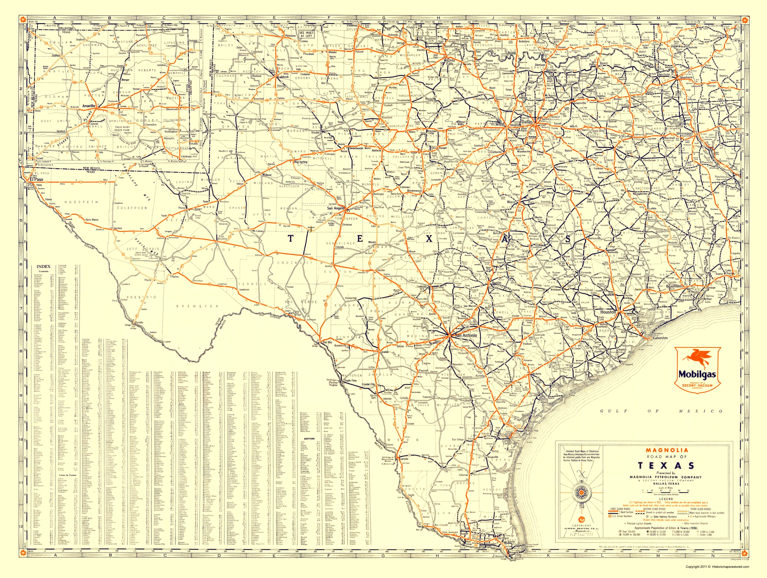 Old Travel Map - Texas Road Map From Magnolia Petro 1933 - Magnolia Texas Map