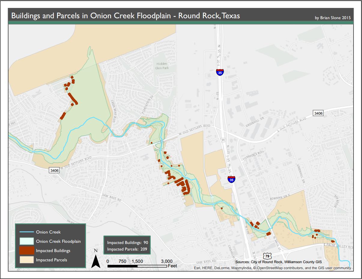Onion Creek Flooding Hazard Map – Gislibrarian - Round Rock Texas Flood Map