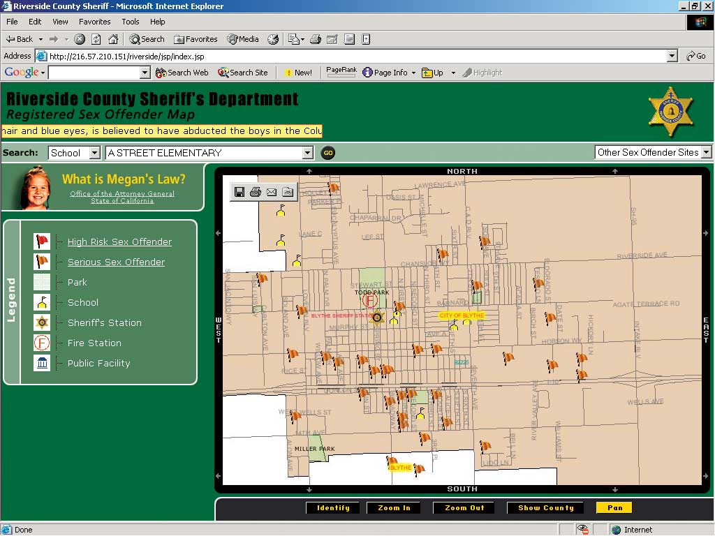 Online Mapping Assists Megan's Law Notification - Megan's Law Map Of Offenders California