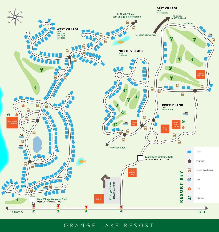 Orange Lake Resort North Village Timeshare | Buy, Sell, Rent - Orange Lake Florida Map