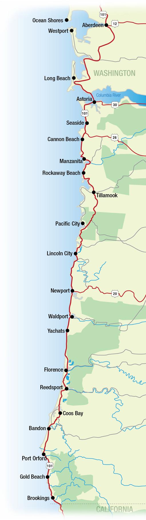Oregon California Coast Map - Klipy - Map Of Oregon And California Coastline
