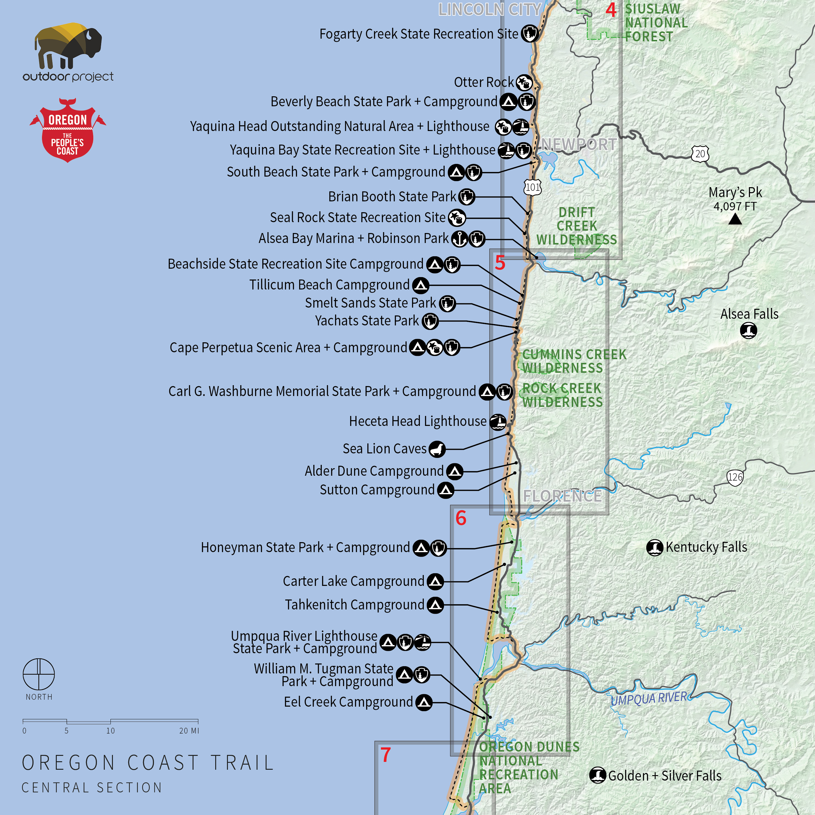 Oregon Coast Trail Central Hd Map Of California Coastal Trail Map - California Coastal Trail Map
