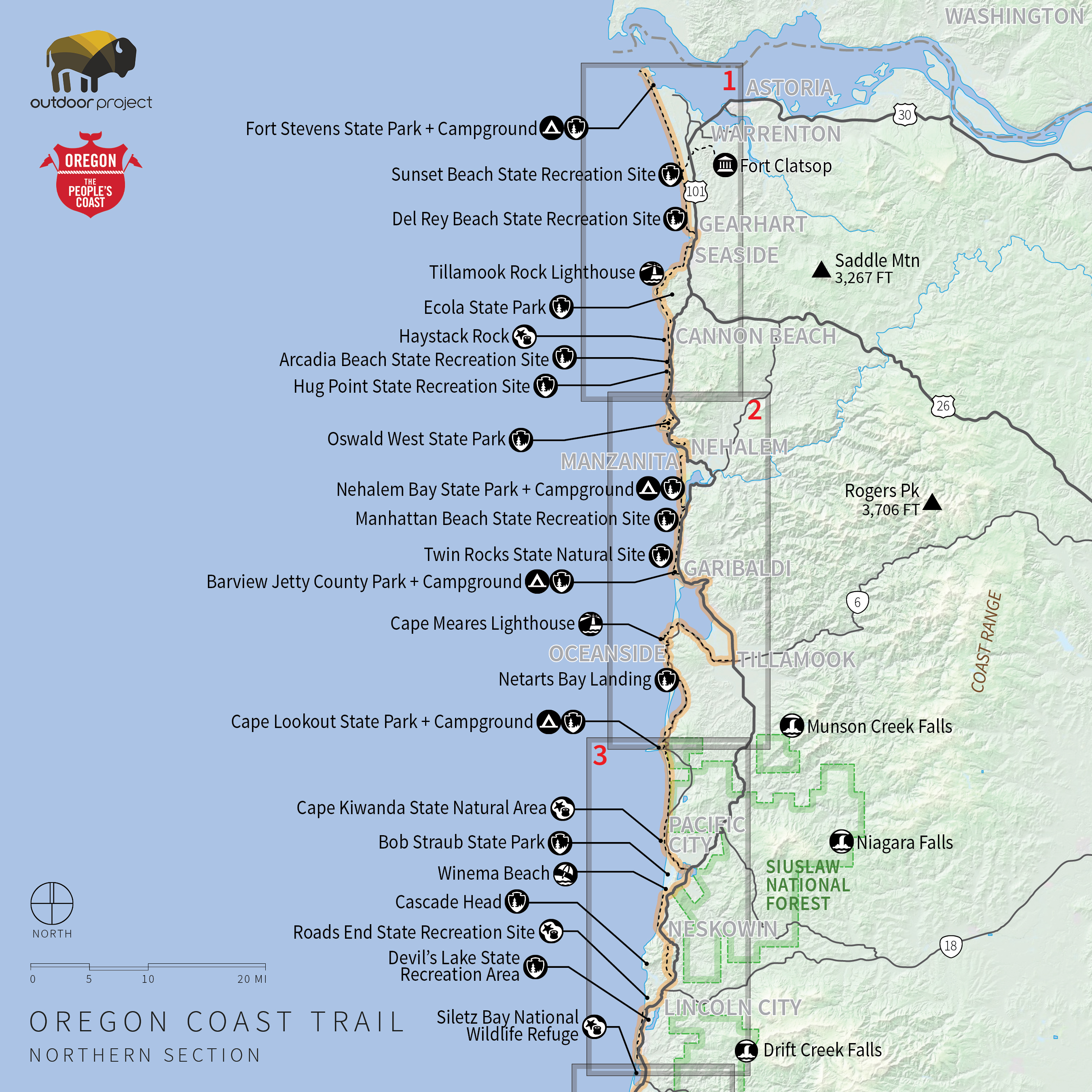 Oregon Coast Trail Northern Map Reference Camping California Coast - Camping Central California Coast Map