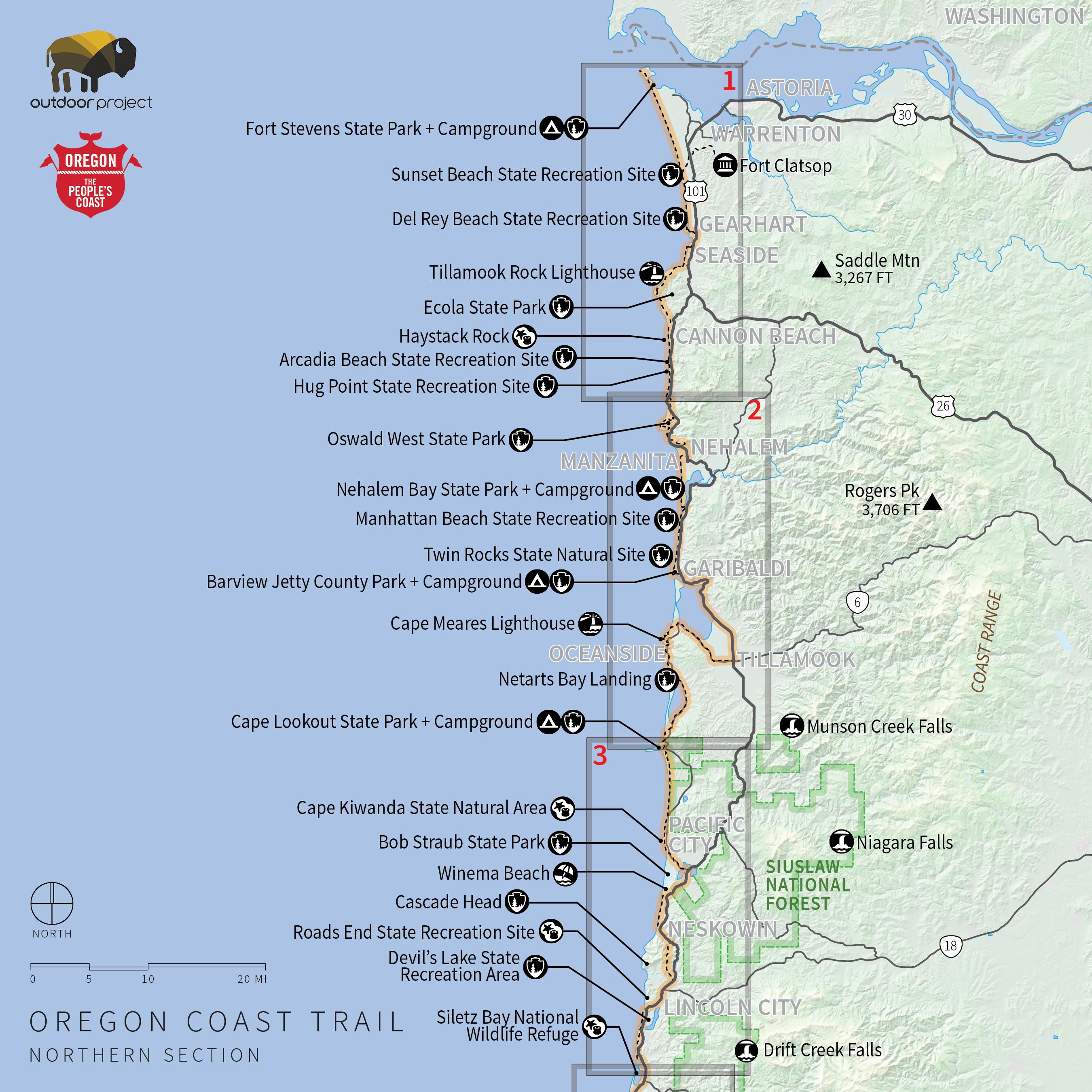 Oregon Coast Trail Northern Map Reference Camping California Coast - Map Of Oregon And California Coastline