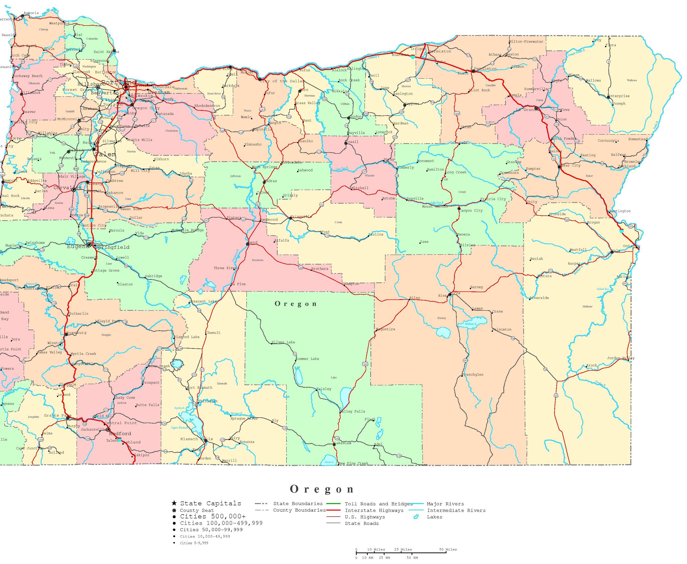 Oregon Printable Map - Oregon Road Map Printable