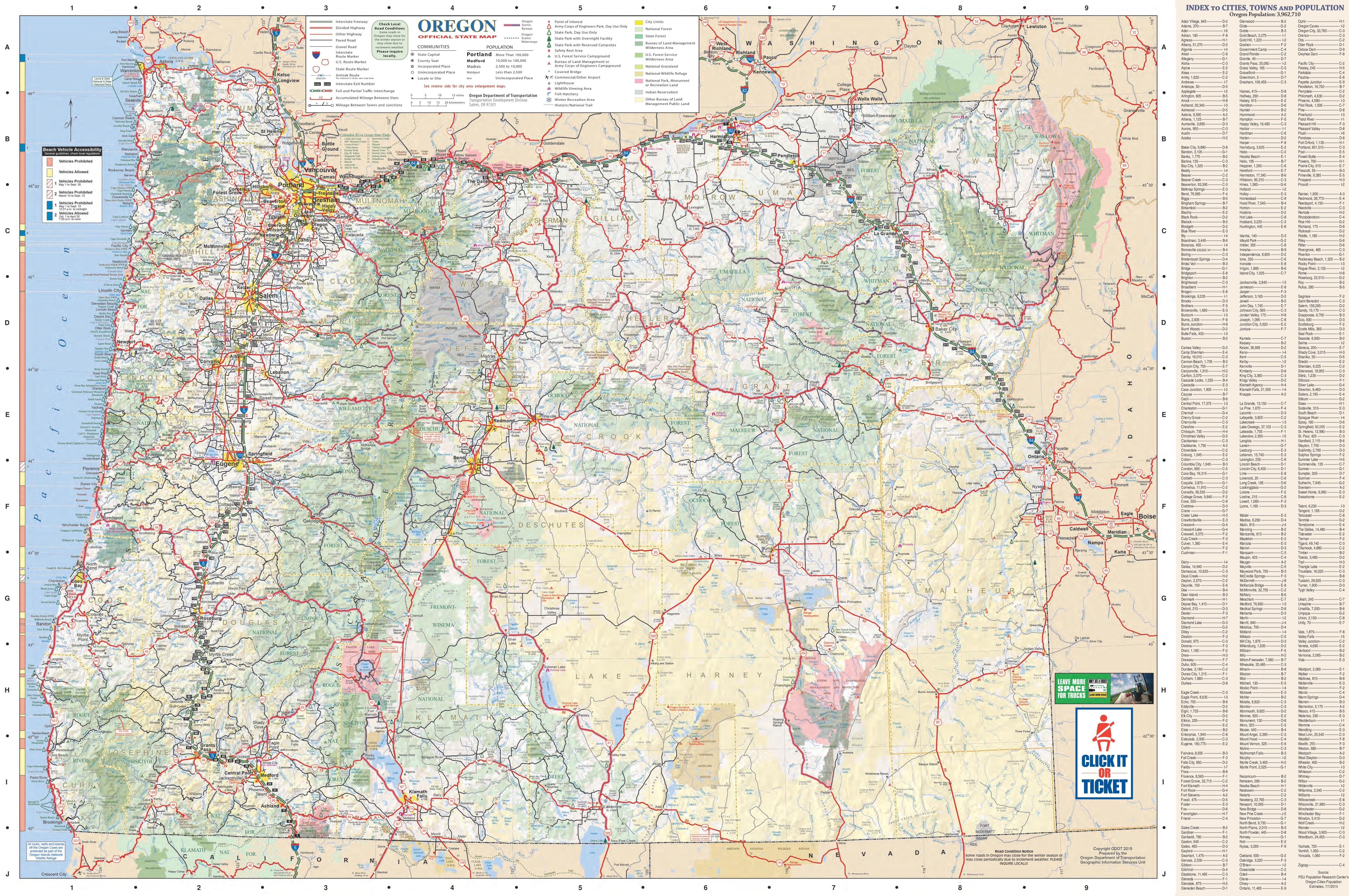 Oregon State Maps | Usa | Maps Of Oregon (Or) - Oregon Road Map Printable