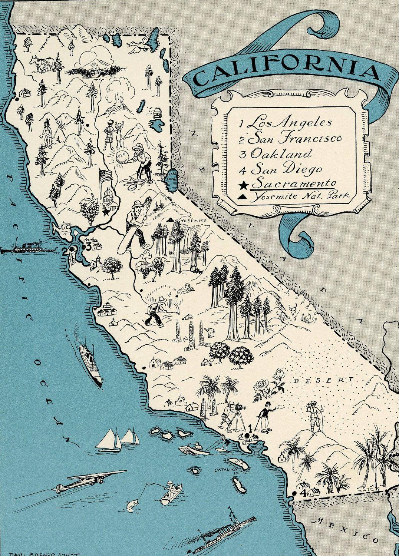 Original 1931 California Map Vintage Picture Map - Antique Map - Charming California Map
