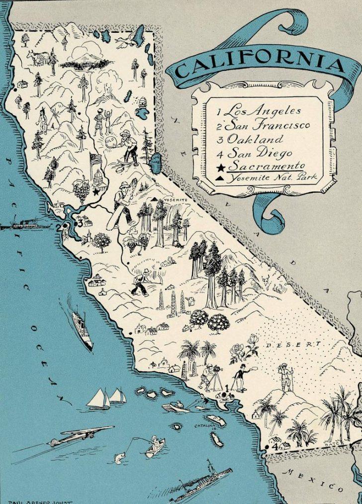 Antique Map Of California