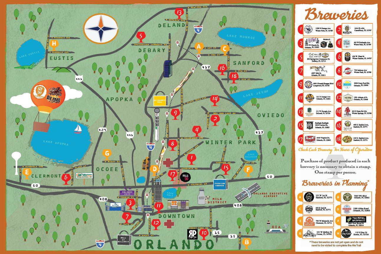 Orlando Brewery Guide - Brewintel - Central Florida Ale Trail Map