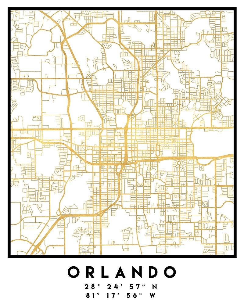 "Orlando Florida City Street Map Art""deificusart | Redbubble - Street Map Of Orlando Florida"