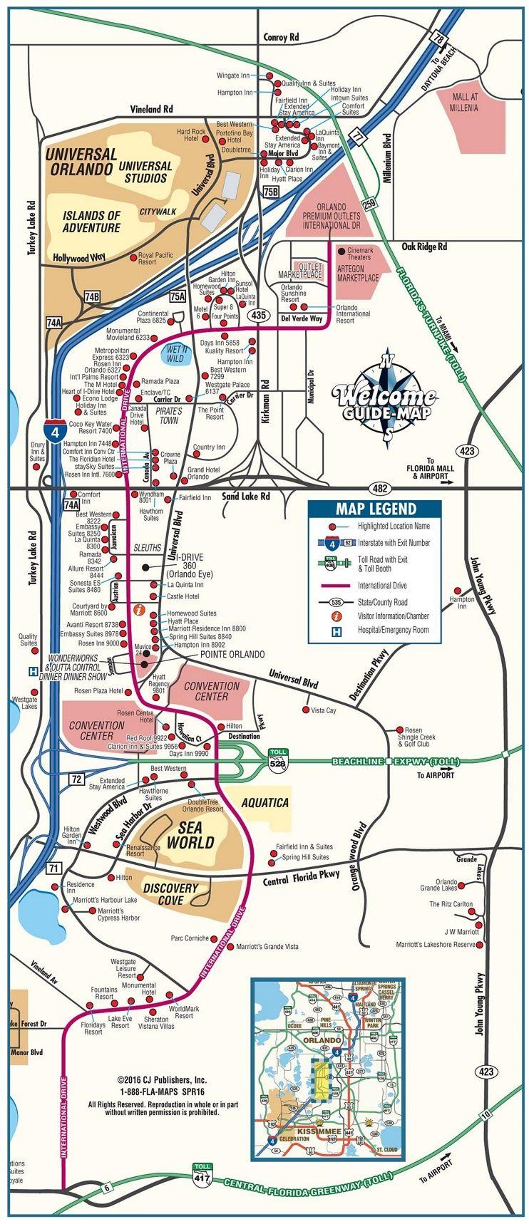 Orlando International Drive Tourist Map | Travel In 2019 | Pinterest - Tourist Map Of Orlando Florida