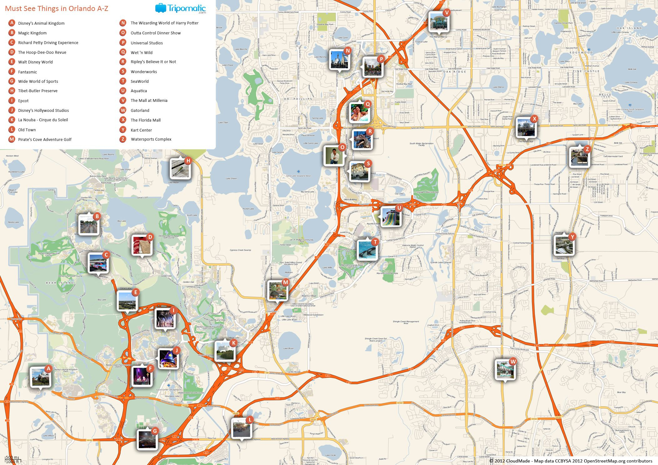 Orlando Printable Tourist Map | Free Tourist Maps ✈ | Orlando Map - Detailed Map Of Orlando Florida