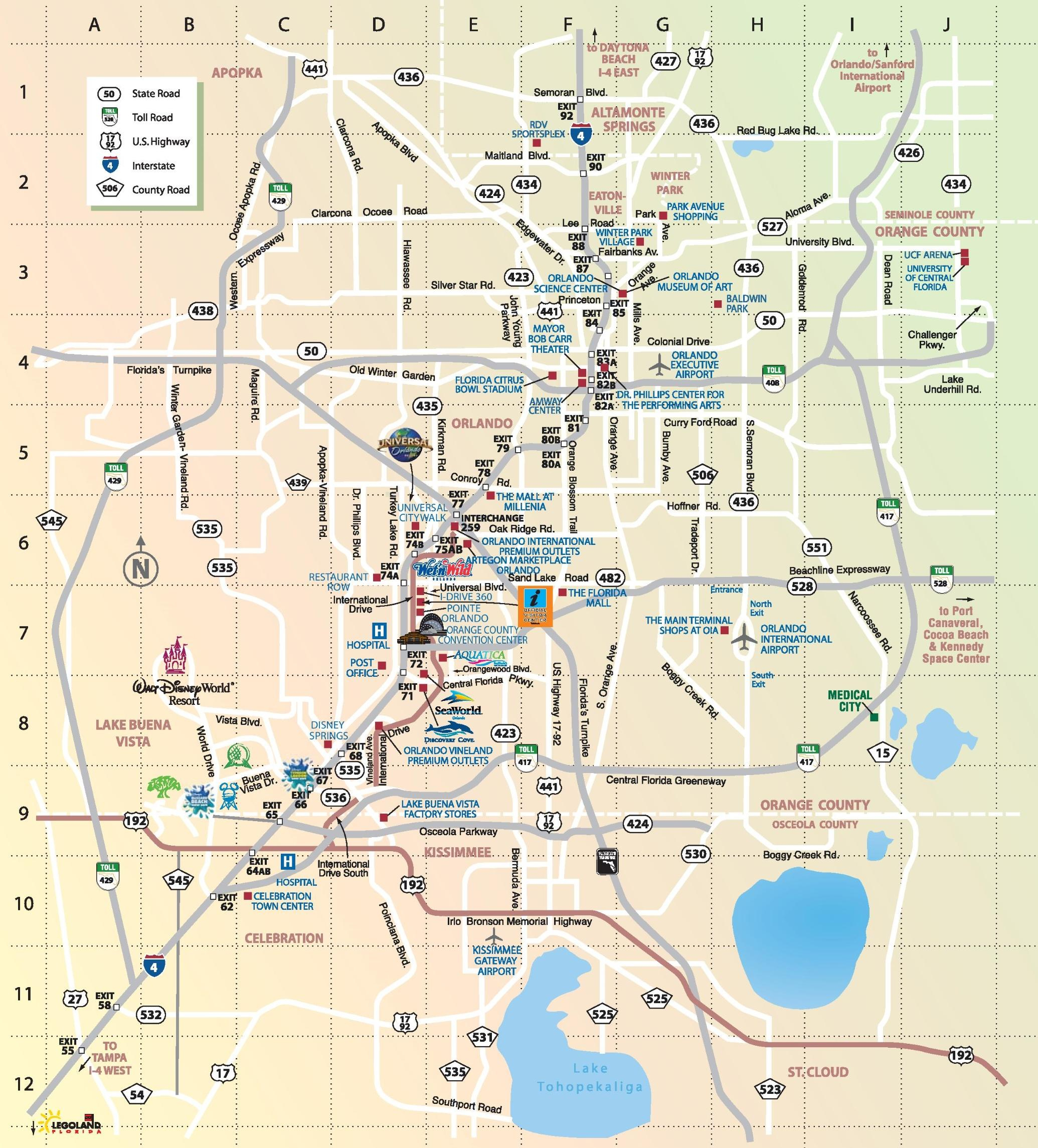 Orlando Toll Roads Map - Map Of Orlando Toll Roads (Florida - Usa) - Detailed Map Of Orlando Florida