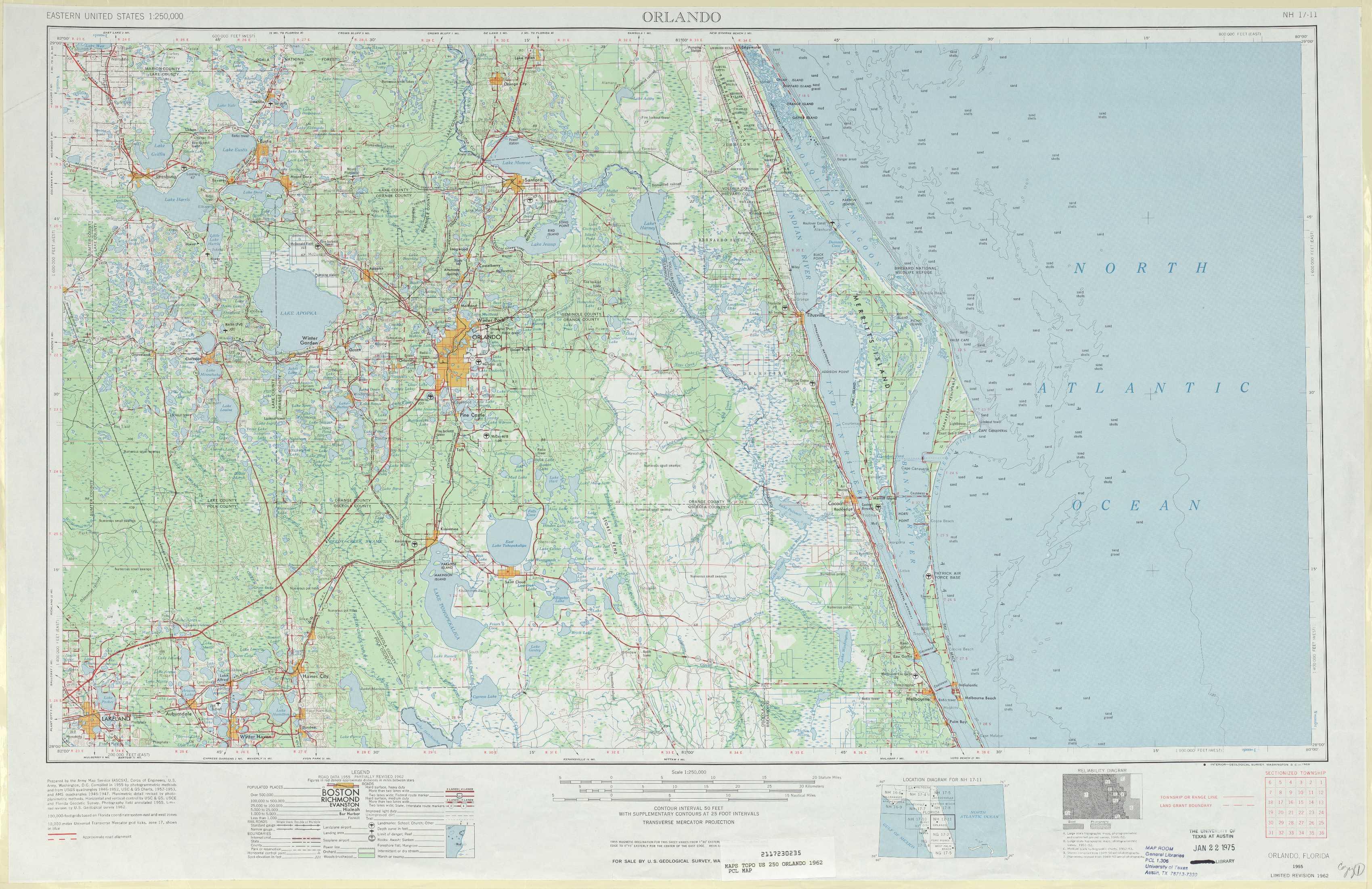 Orlando Topographic Maps, Fl - Usgs Topo Quad 28080A1 At 1:250,000 Scale - South Florida Topographic Map