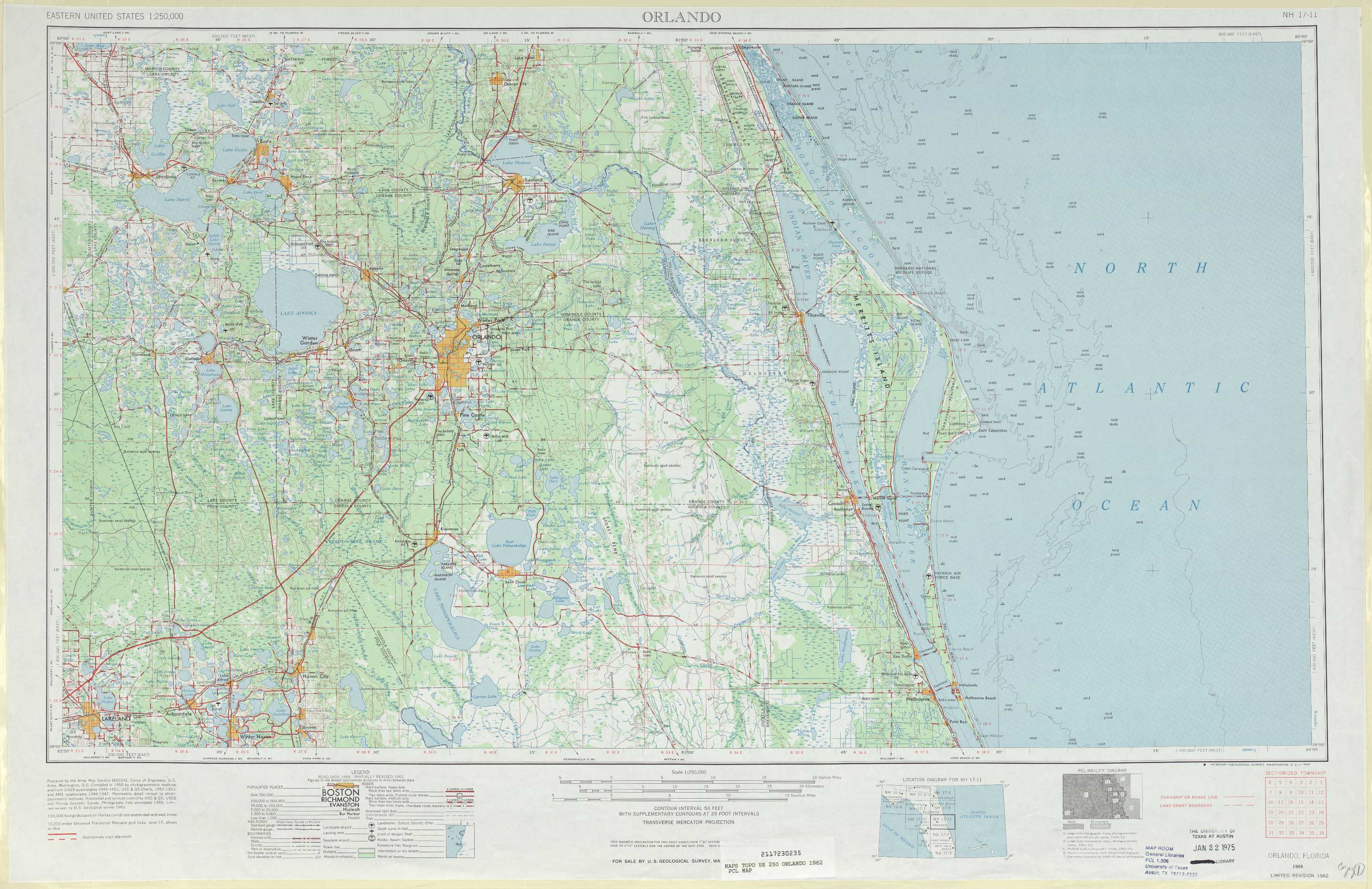 Orlando Topographic Maps, Fl - Usgs Topo Quad 28080A1 At 1:250,000 Scale - Topographic Map Of South Florida
