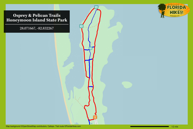 Osprey Trail, Honeymoon Island | Florida Hikes! - Honeymoon Island Florida Map