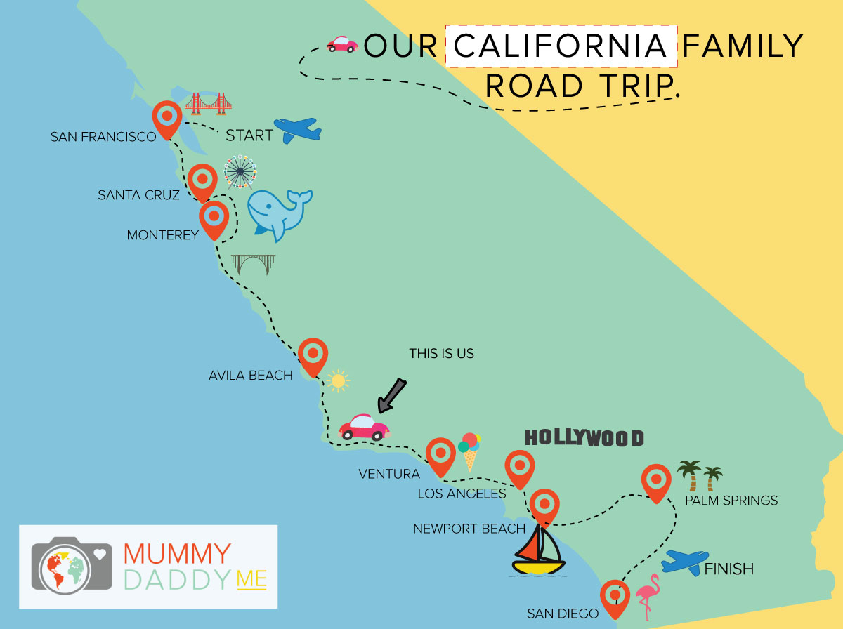 Our California Family Road Trip Home To San Francisco Mummy - California Road Trip Map