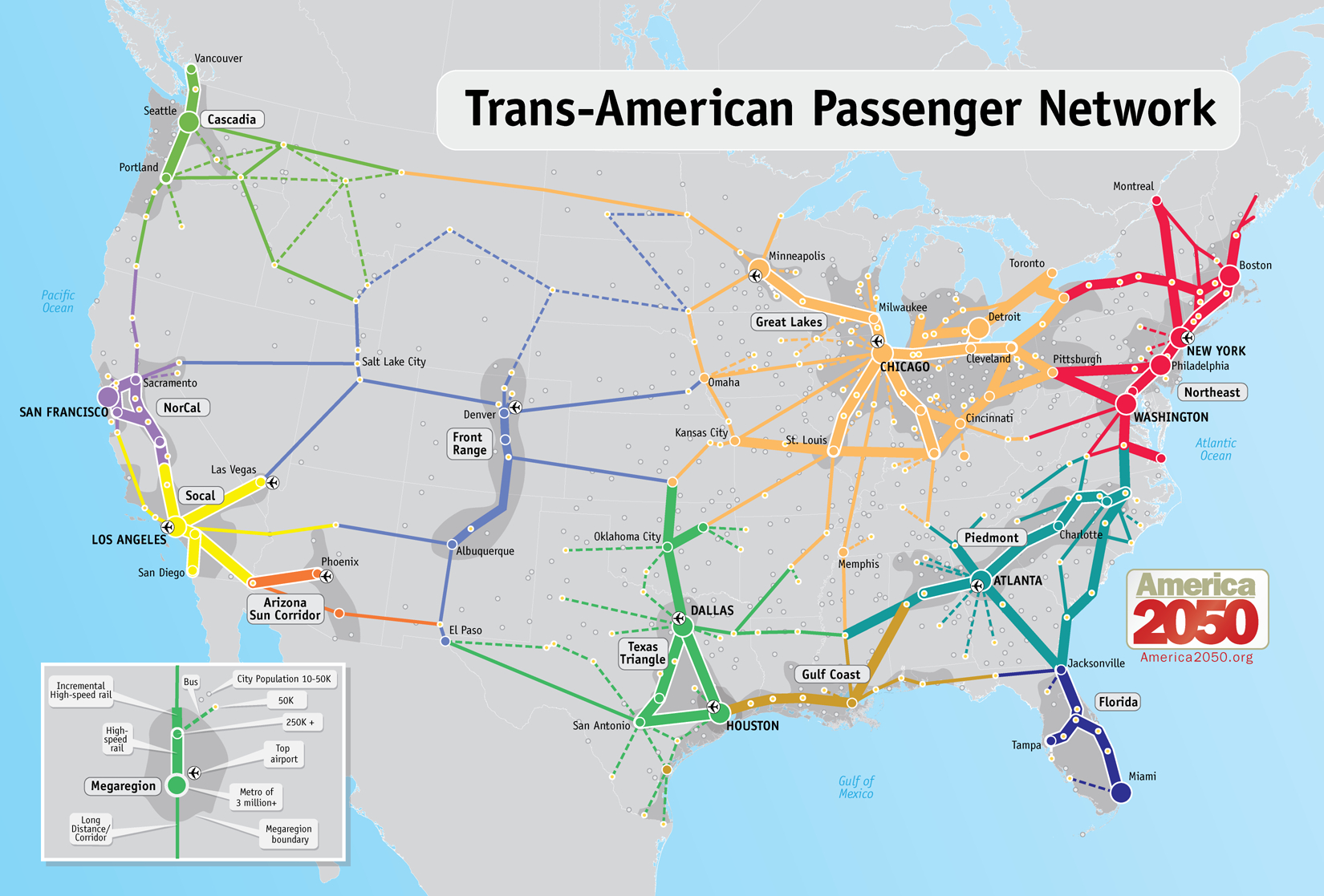 Our Maps - America 2050 - High Speed Rail Texas Route Map