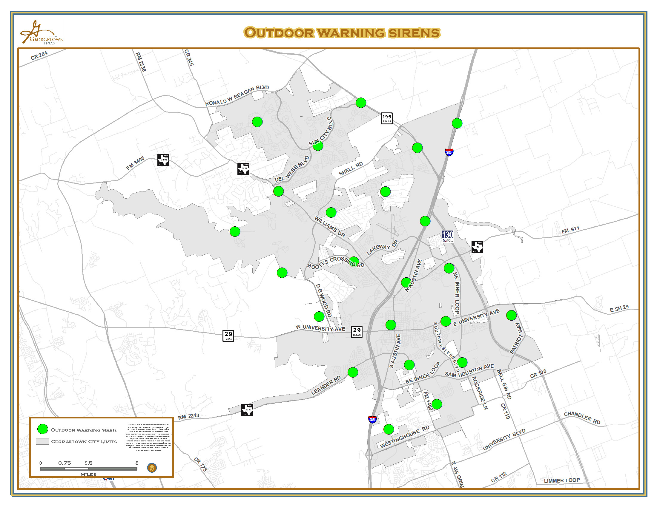 Outdoor Warning Sirens To Be Tested Oct. 7 – City Of Georgetown Texas - Georgetown Texas Map