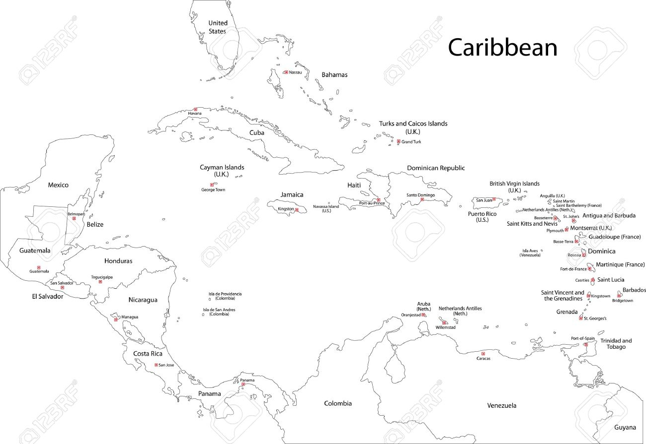 Outline Caribbean Map With Countries And Capital Cities Royalty Free - Free Printable Map Of The Caribbean Islands
