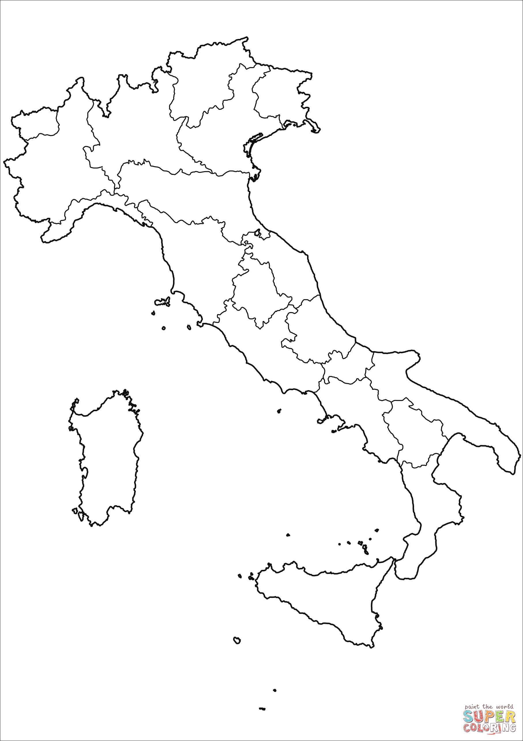 Outline Map Of Italy With Regions Coloring Page | Free Printable - Printable Map Of Italy To Color