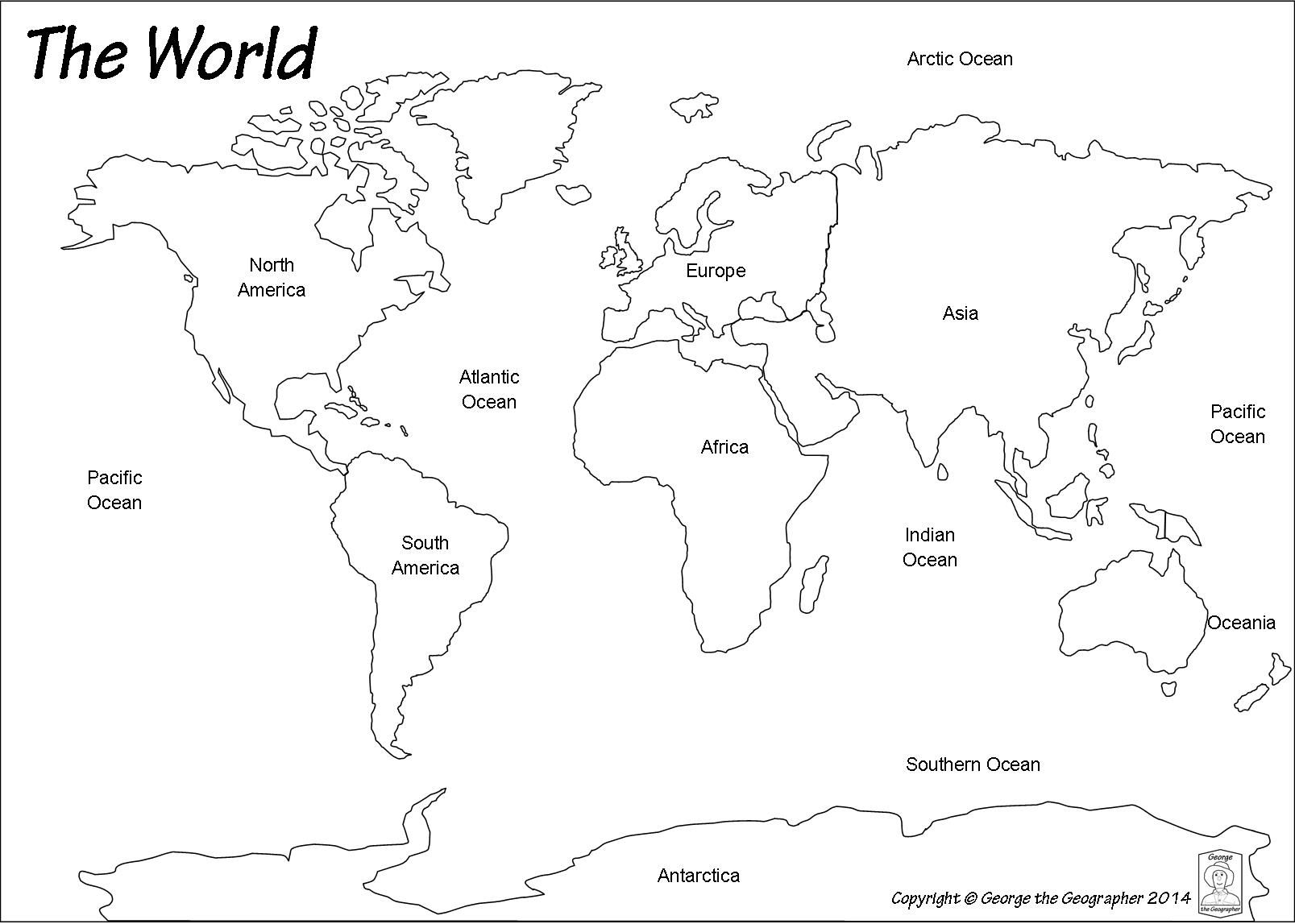 Outline World Map | Map | World Map Outline, Blank World Map, World - Blank Continent Map Printable