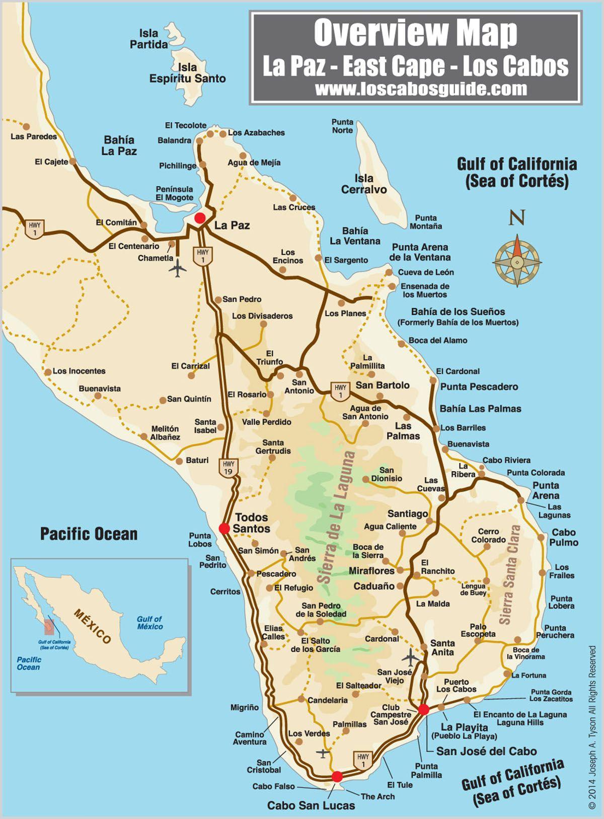 Overview Map La Paz - East Cape - Los Cabos - Los Cabos Guide | Retreats - La Paz Baja California Map