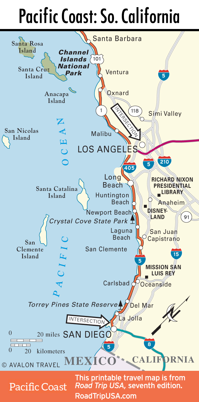 Pacific Coast California Road Map Map Of Southern California Coastal - Detailed Map Of California Coastline