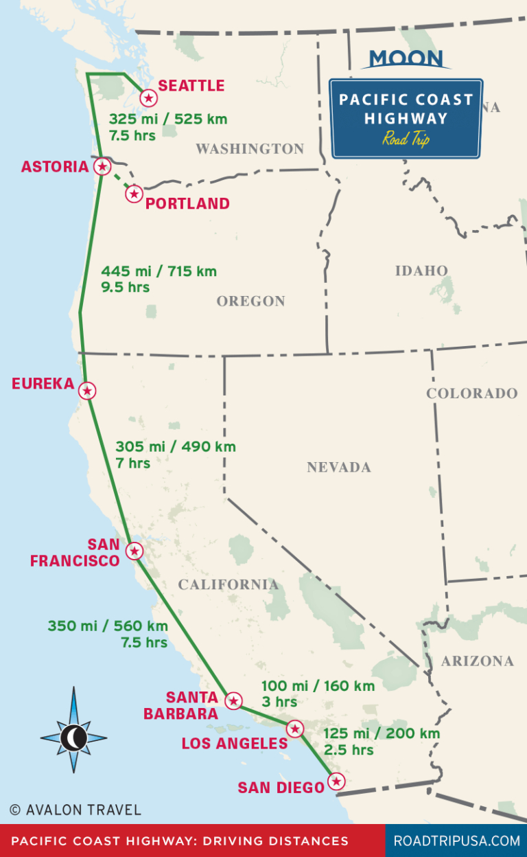 Pacific Coast Highway Driving Distance Map From Moon Pacific Coast - California Oregon Washington Road Map