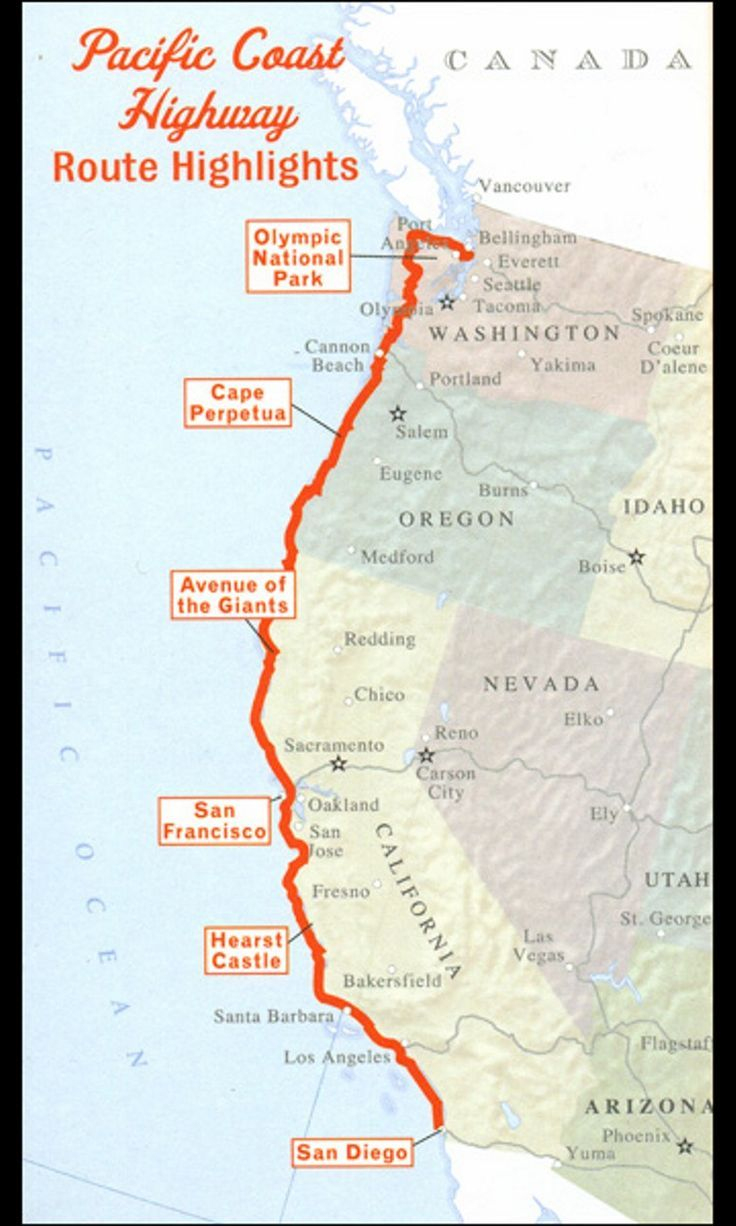 Pacific Coast Highway Road Trip. Seattle To San Diego. Hope To Do - Seattle To California Road Trip Map