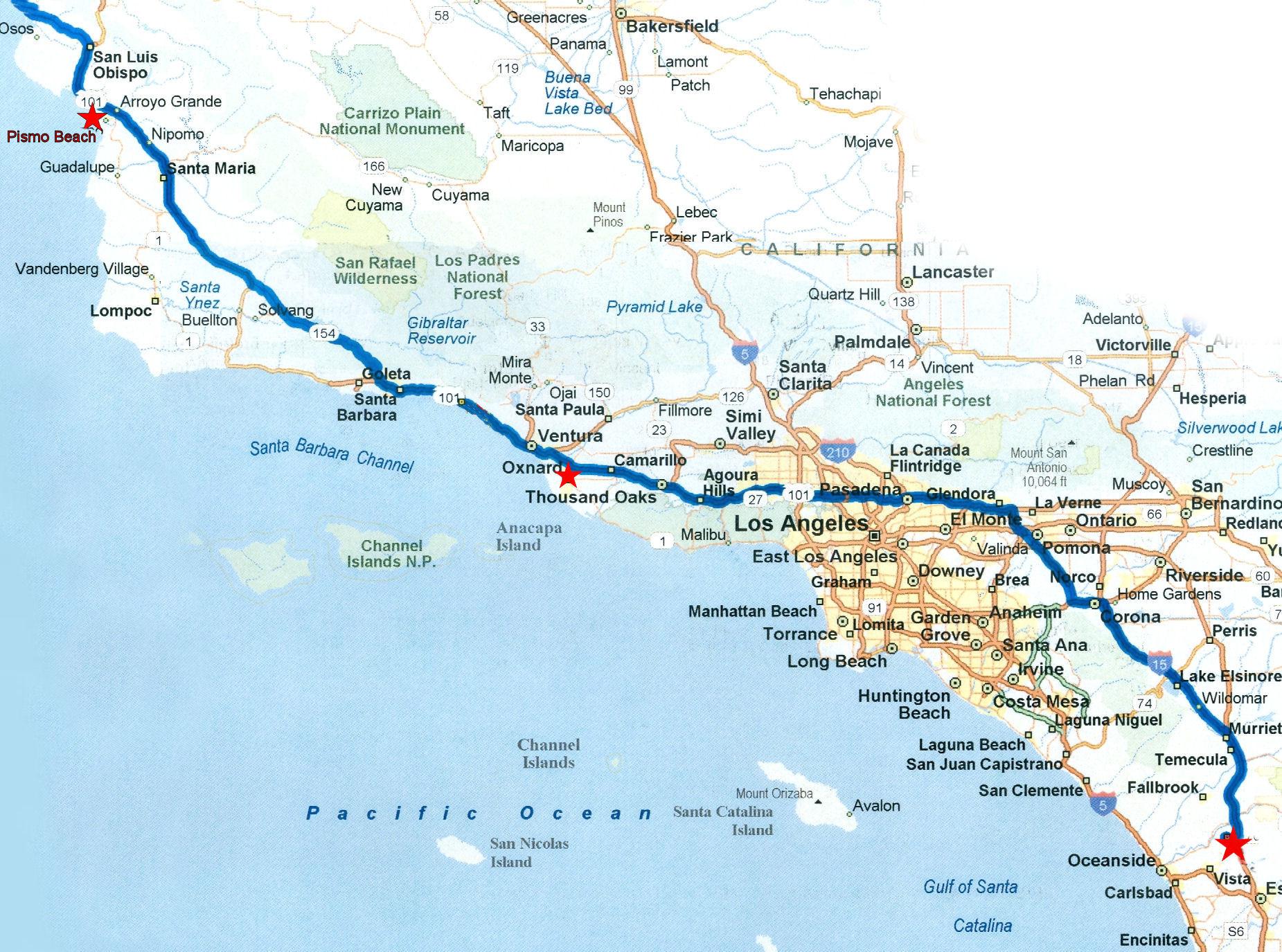 Pacific Coast Road Trip Htm Google Maps California California Coast - California Coastal Highway Map