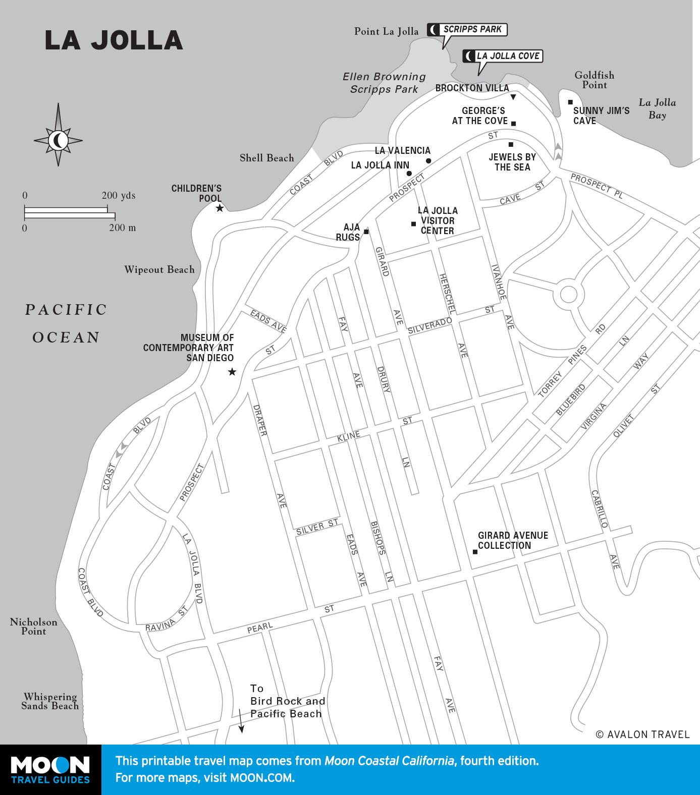 Pacific Coast Route Sights In La Jolla California Road Trip Usa - La Jolla California Map