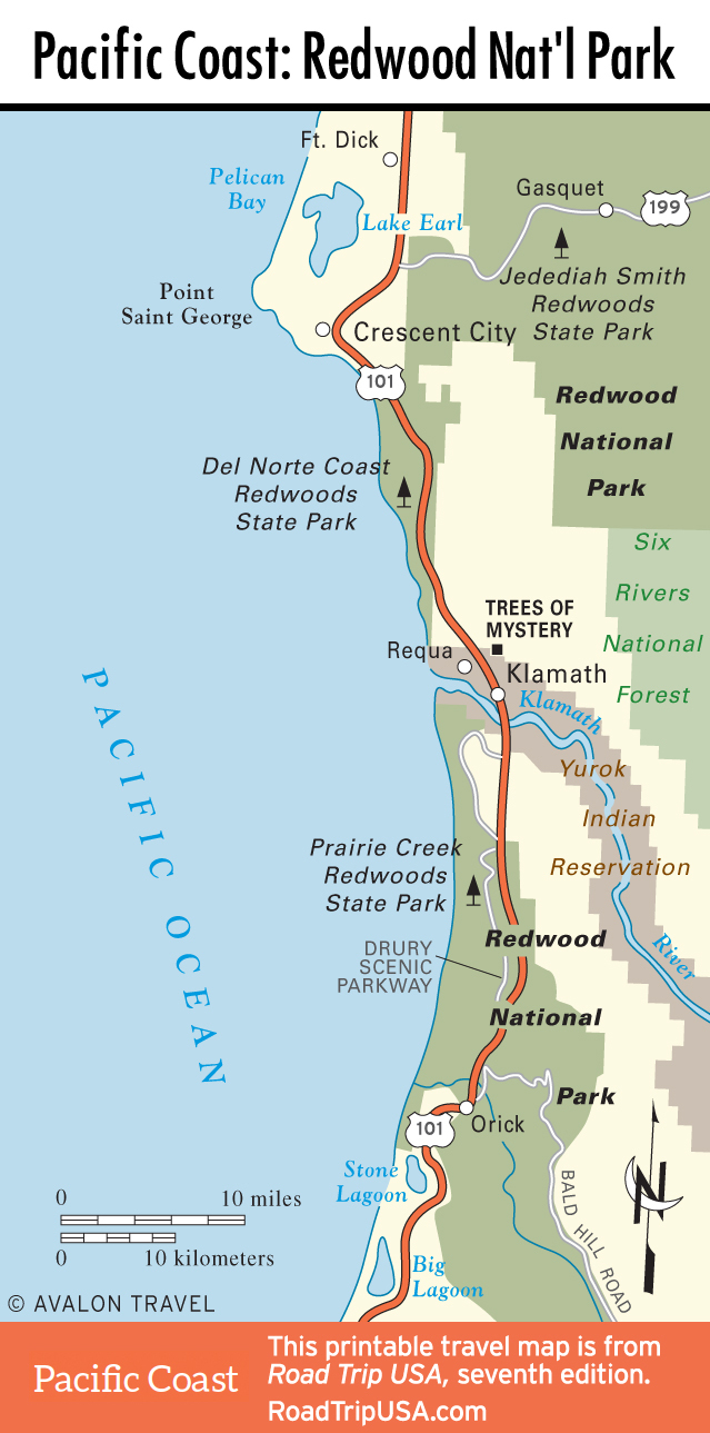 Pacificcoast Redwoodnp Map California Northern California Redwoods - Northern California State Parks Map