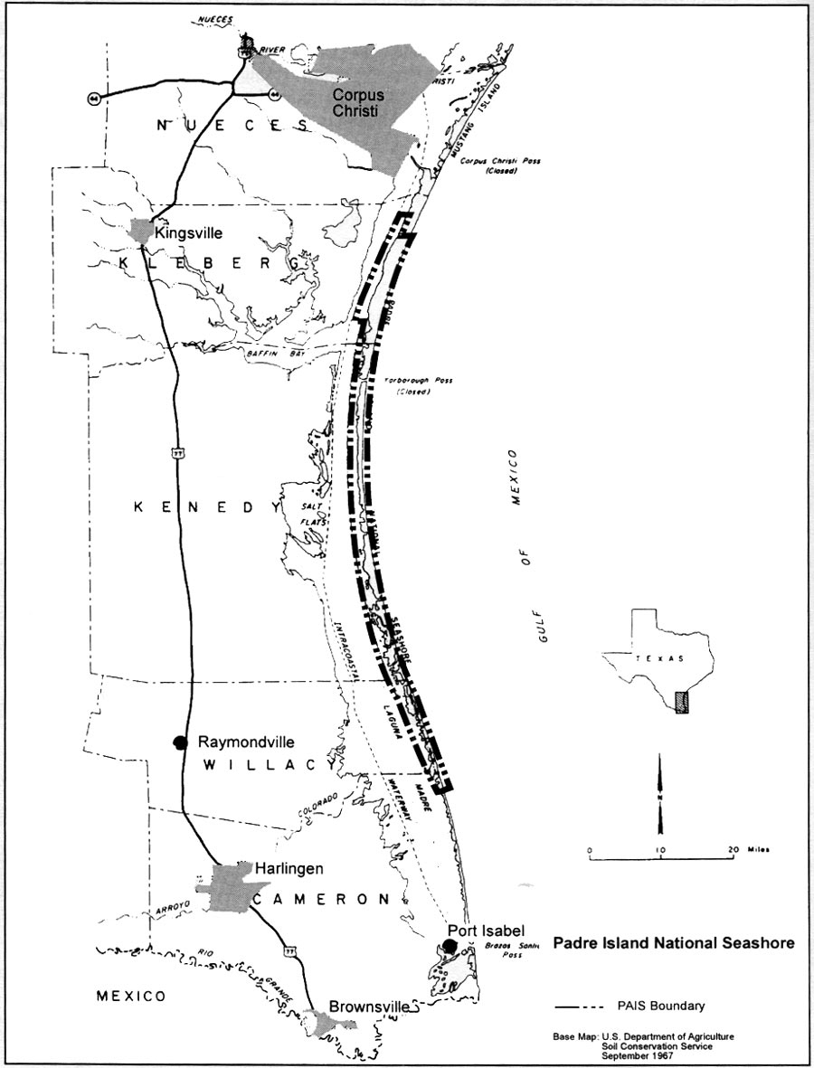 Padre Island Ns: Administrative History (Chapter 1) - Padre Island Texas Map