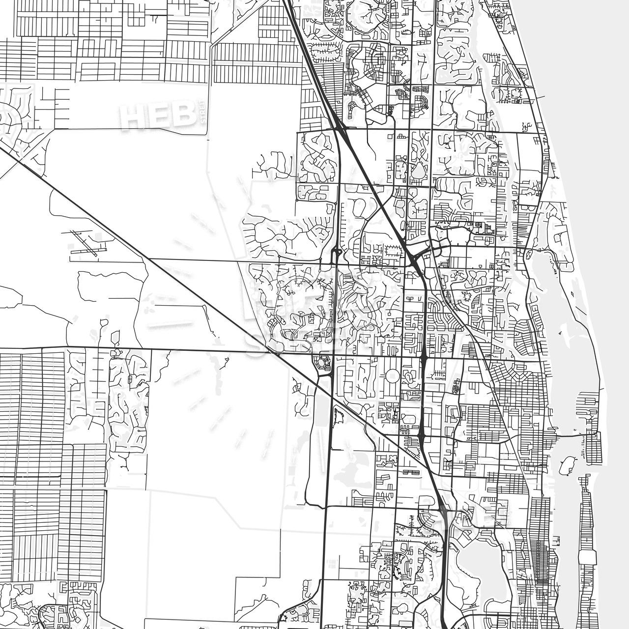 Palm Beach Gardens, Florida - Area Map - Light   Hebstreits - Palm Beach Gardens Florida Map