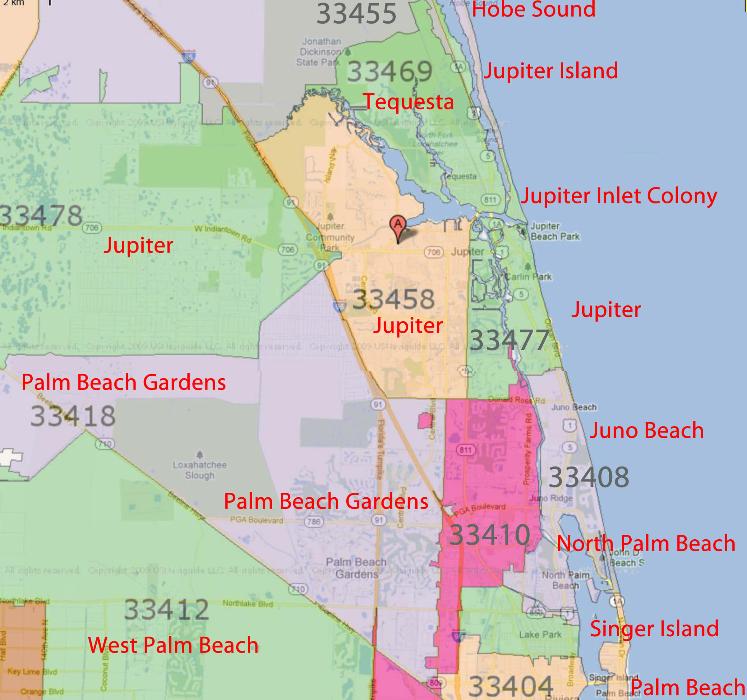 Palm Beach Gardens, Jupiter Florida Real Estatezip Code - Jupiter Inlet Florida Map