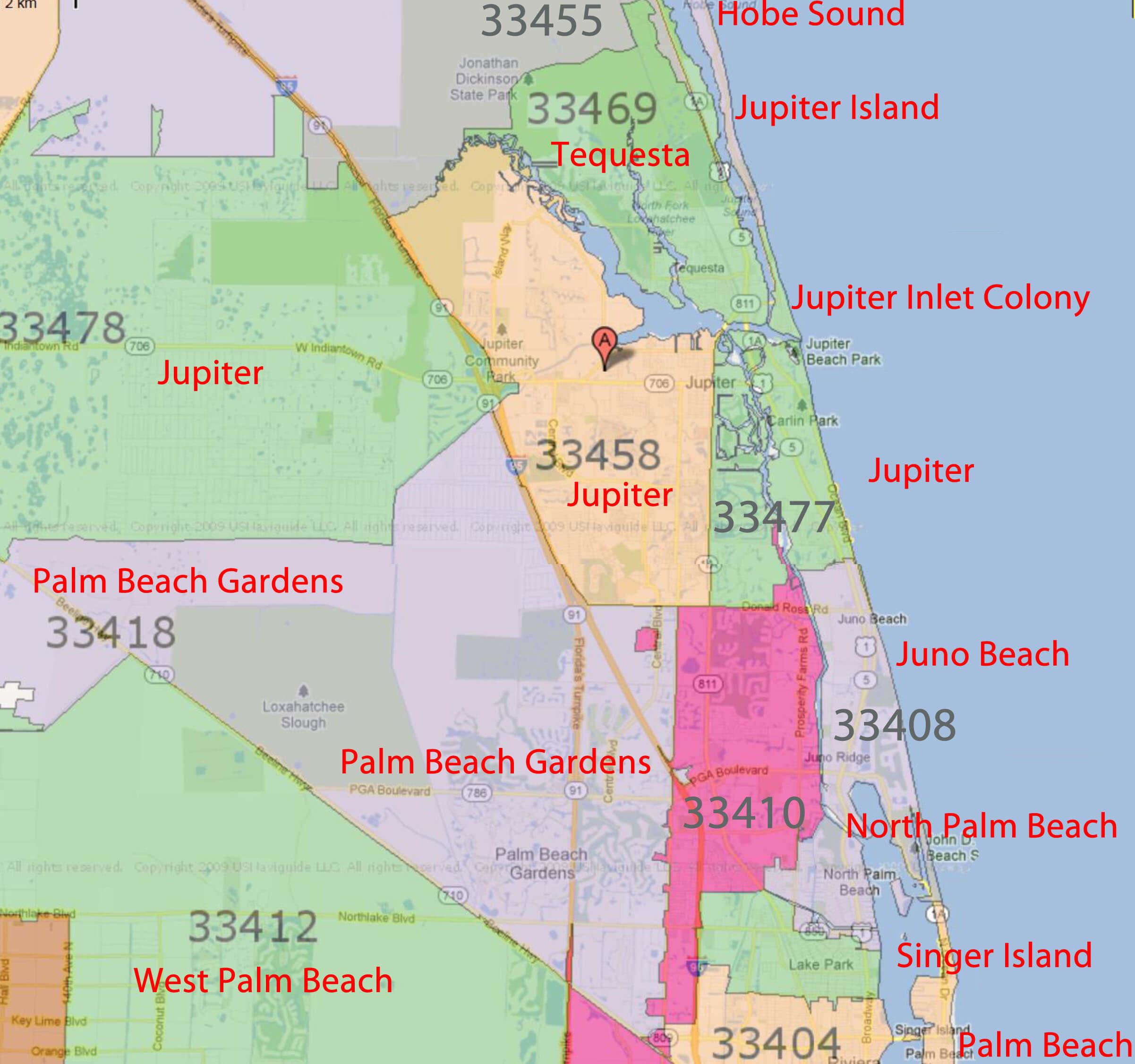 Palm Beach Gardens, Jupiter Florida Real Estatezip Code - Jupiter Island Florida Map