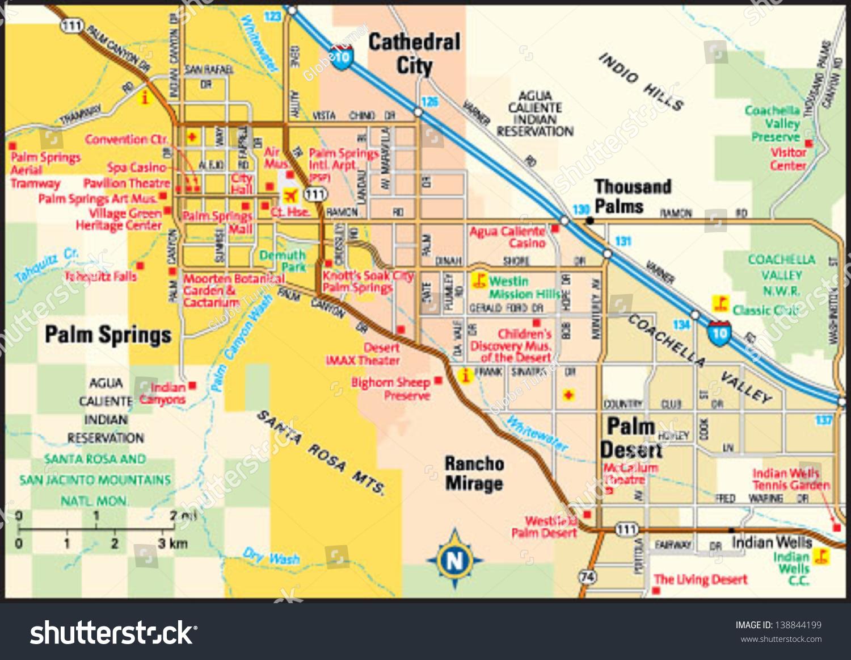 Palm Springs California Area Map Image Vectorielle De Stock (Libre - Map Of California Showing Palm Springs