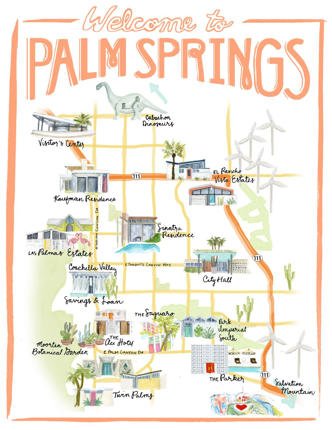 Palm Springs California Illustrated Travel Map Print Of Watercolor - Where Is Palm Desert California Map