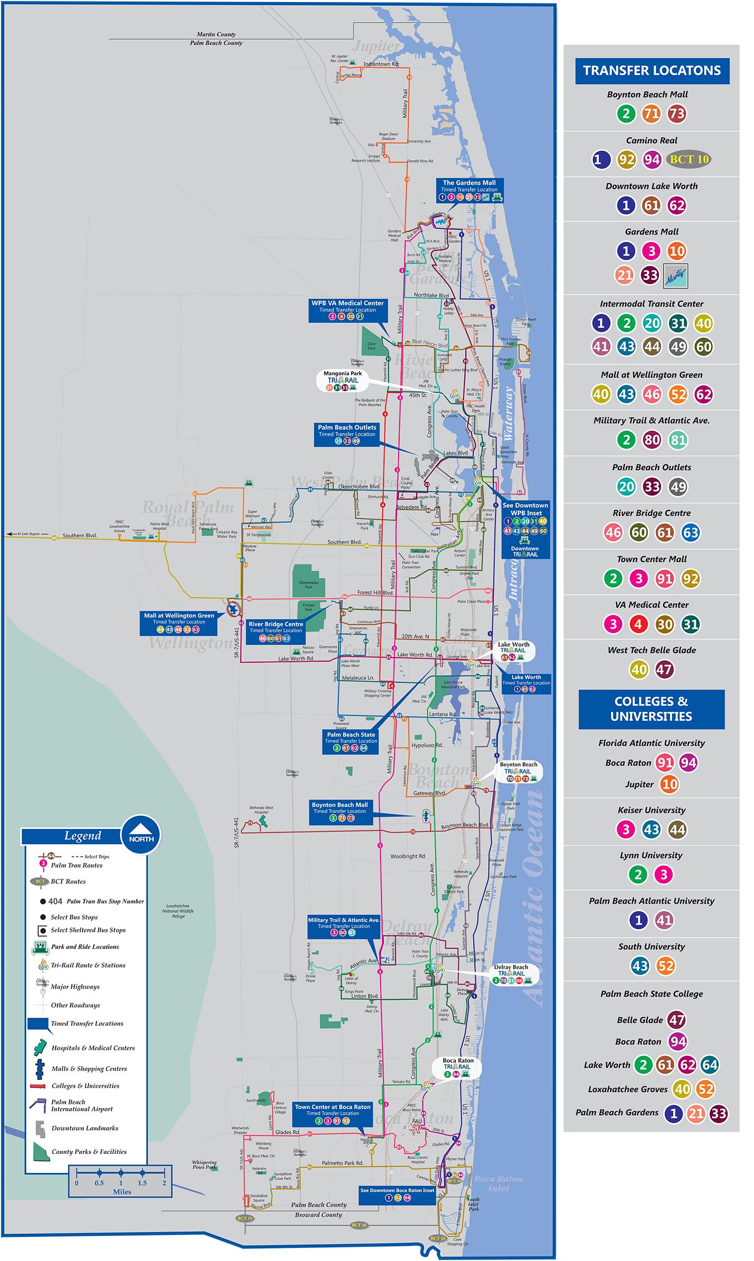 Palm Tran Bus Service - Jupiter Beach Florida Map