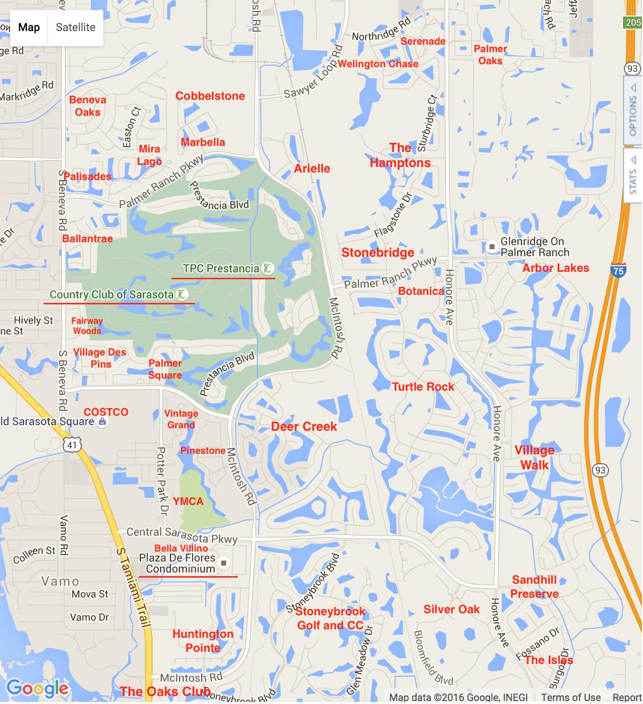 Palmer Ranch Map | Palmer Ranch Neighborhoods - Map Of The Villages Florida Neighborhoods