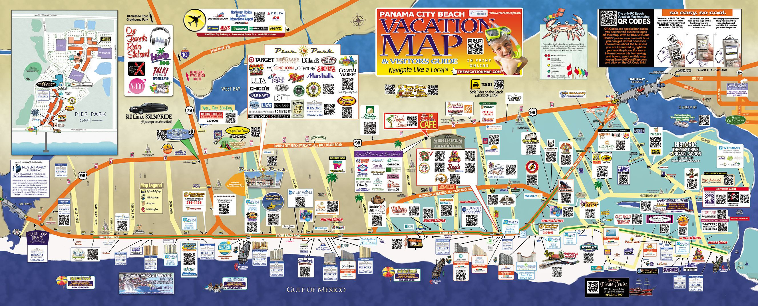 Panama City Beach Map | M88M88 - Panama City And Destin Florida Map