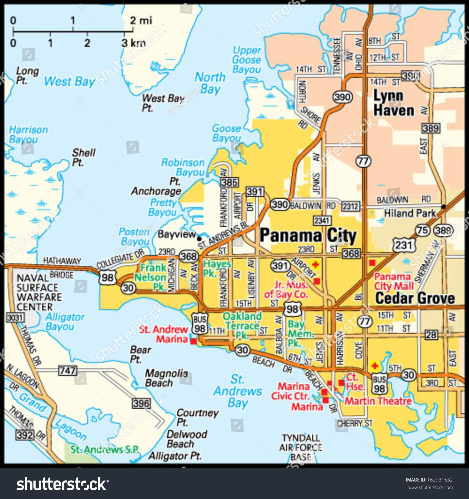 Panama City Florida Map From Image 1 - Ameliabd - Where Is Panama City Florida On The Map