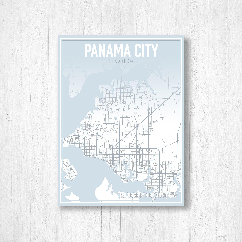 Panama City Florida Street Map Map Of Panama City Map Print | Etsy - Street Map Panama City Florida