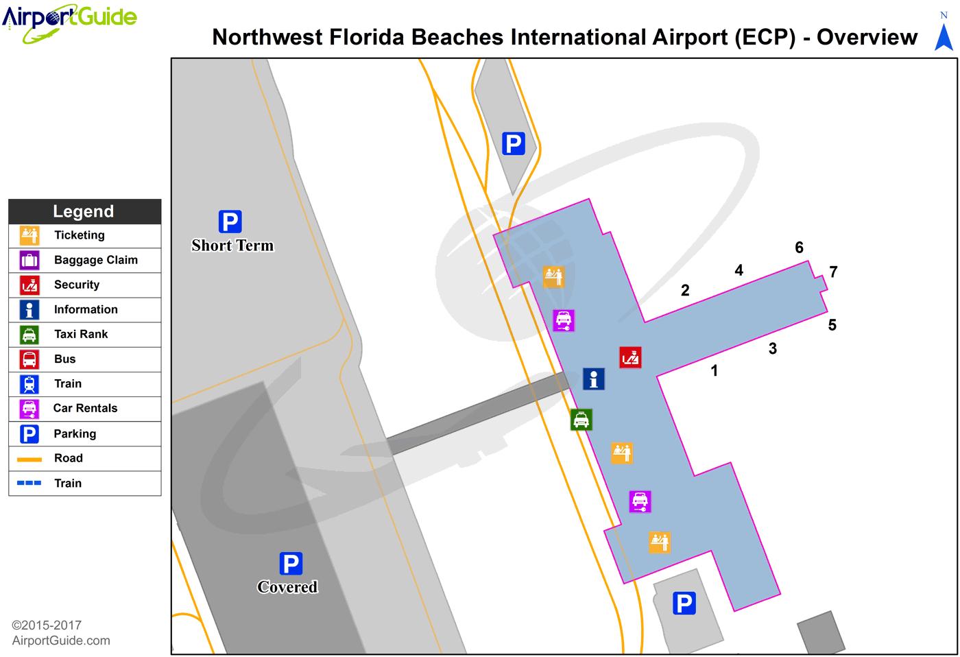 Panama City - Northwest Florida Beaches International (Ecp) Airport - Florida Airports Map