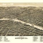 Panoramic Print   Rockford Illinois   Beck 1880   Printable Map Of Rockford Il
