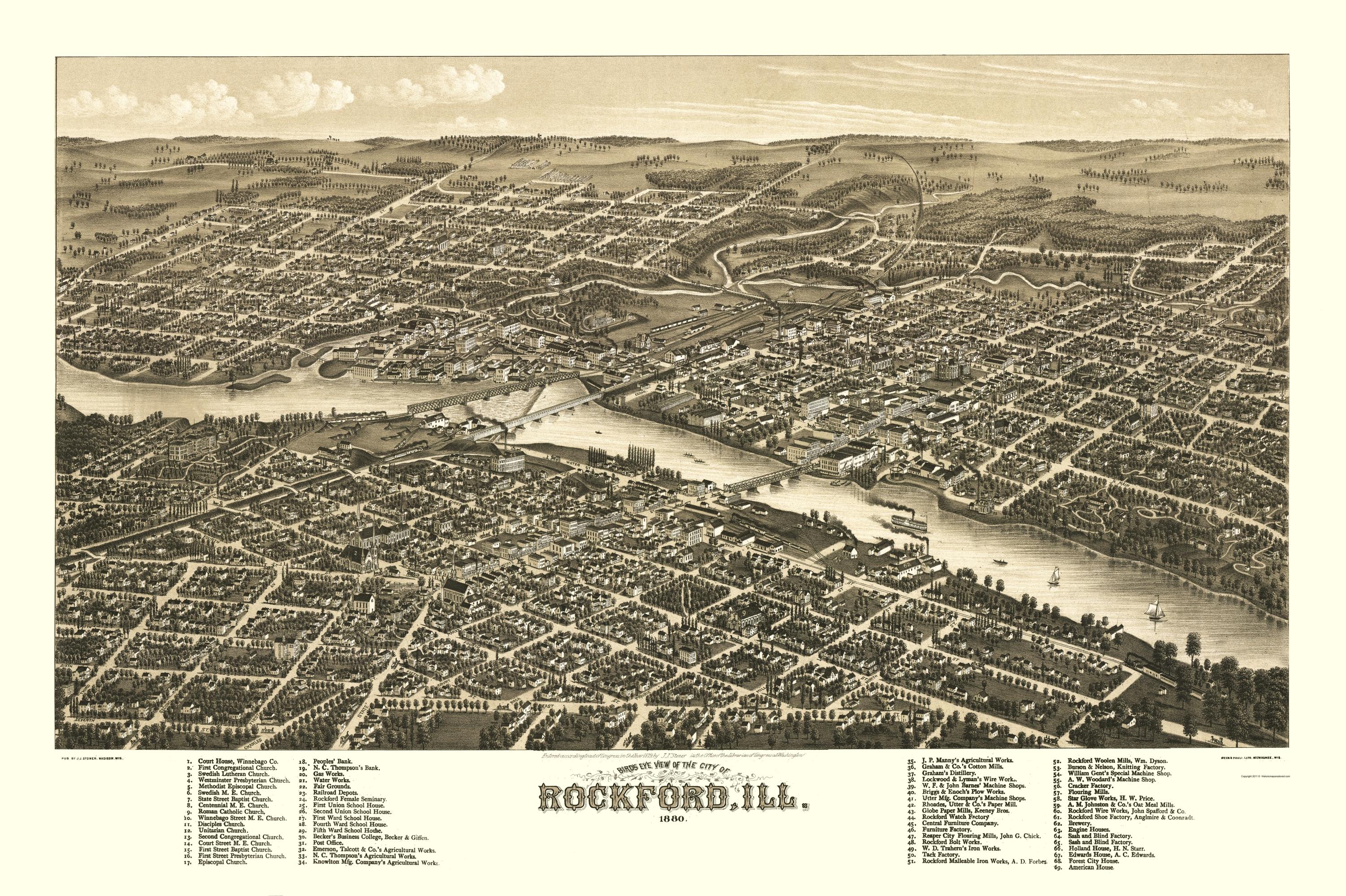 Panoramic Print - Rockford Illinois - Beck 1880 - Printable Map Of Rockford Il