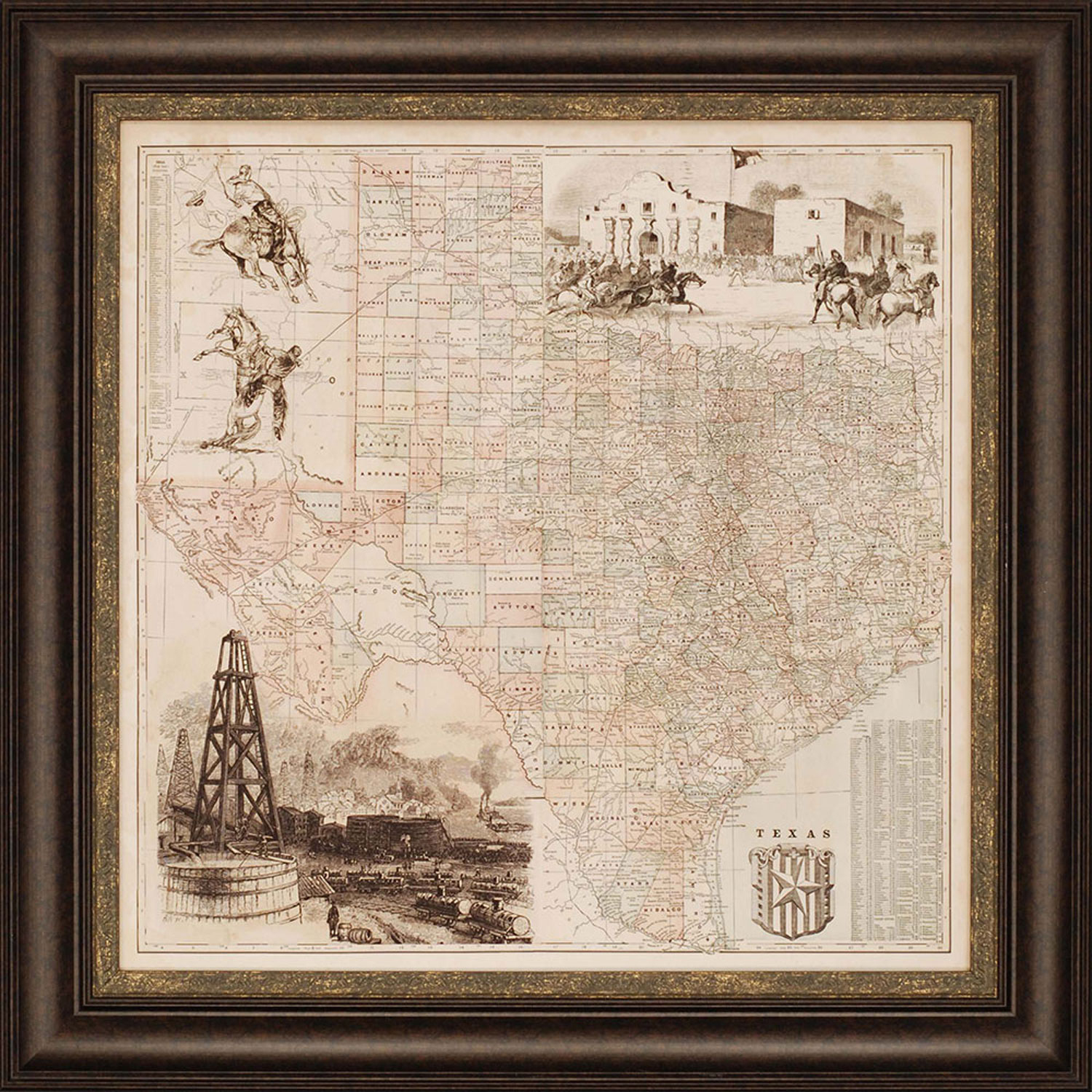 Paragon Texas Mapvision Studio: 38 X 38 Inch Framed Art 1755 - Texas Map Framed Art