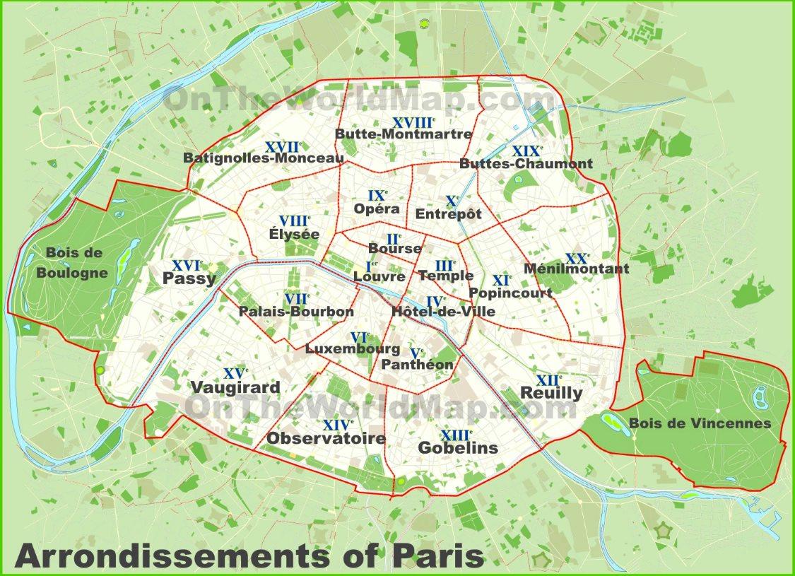 Paris Arrondissements Map - Printable Map Of Paris Arrondissements